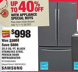 Home Depot Black Friday: Samsung 25.5 cu-ft. Black Stainless Steel French Door Refrigerator for $998.00