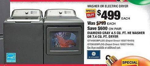 Home Depot Black Friday: Diamond Gray 4.5 cu-ft. HE Washer or 7.4 cu-ft. Dryer, Each for $499.00