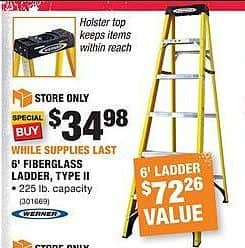 Home Depot Black Friday: 6' Fiberglass Ladder, Type II for $34.98