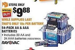 Home Depot Black Friday: Rayovac 54-pl. AA & AAA Batteries for $9.88
