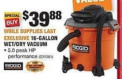 Home Depot Black Friday Ridgid 16 Gallon Wet Dry Vacuum For 39 88