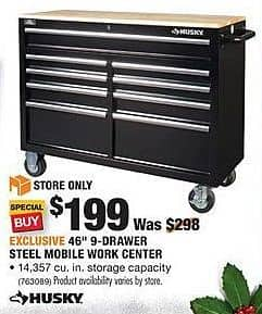 "Home Depot Black Friday: Husky 46"" 9-Drawer Steel Mobile Work Center for $199.00"