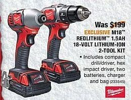 Home Depot Black Friday: Milwaukee M18 Redlithium 1.5AH 18-Volt Lithiuim-Ion 2-Tool Kit for $149.00