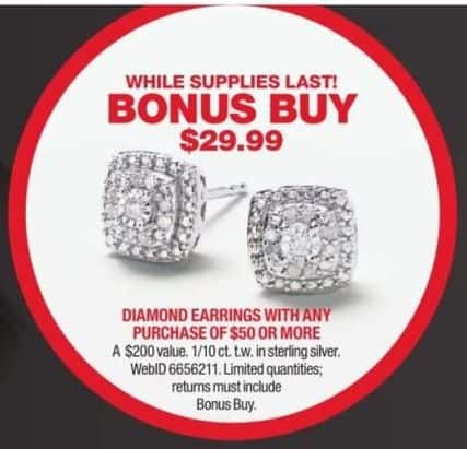 6f7851edc0c Macy s Black Friday  1 10 ct tw Diamond Stud Earrings in Sterling Silver  with Any Purchase of  50 or More - only  29.99