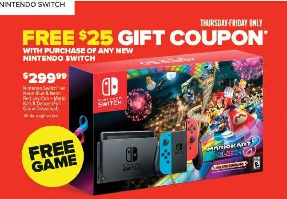 Gamestop Black Friday Nintendo Switch Mario Kart 8 Deluxe
