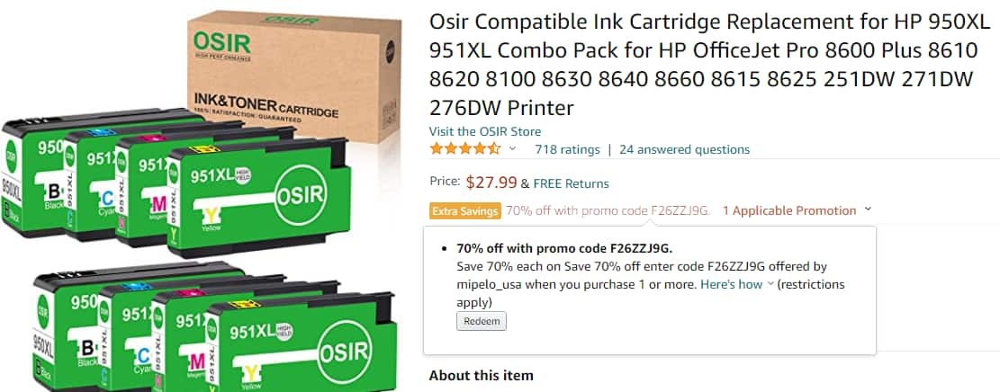 70% OFF for Osir Compatible Ink Cartridge Replacement for $8.4+Free SH w/ Prime @Amazon $8.38