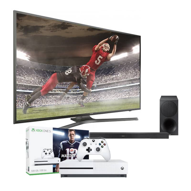 "Samsung 75"" UN75MU6300 4K Smart TV + Samsung HWM450 2.1 Ch Soundbar  + Xbox One S Madden 18 Bundle - $1999.93 F/S PC Richard & Son"