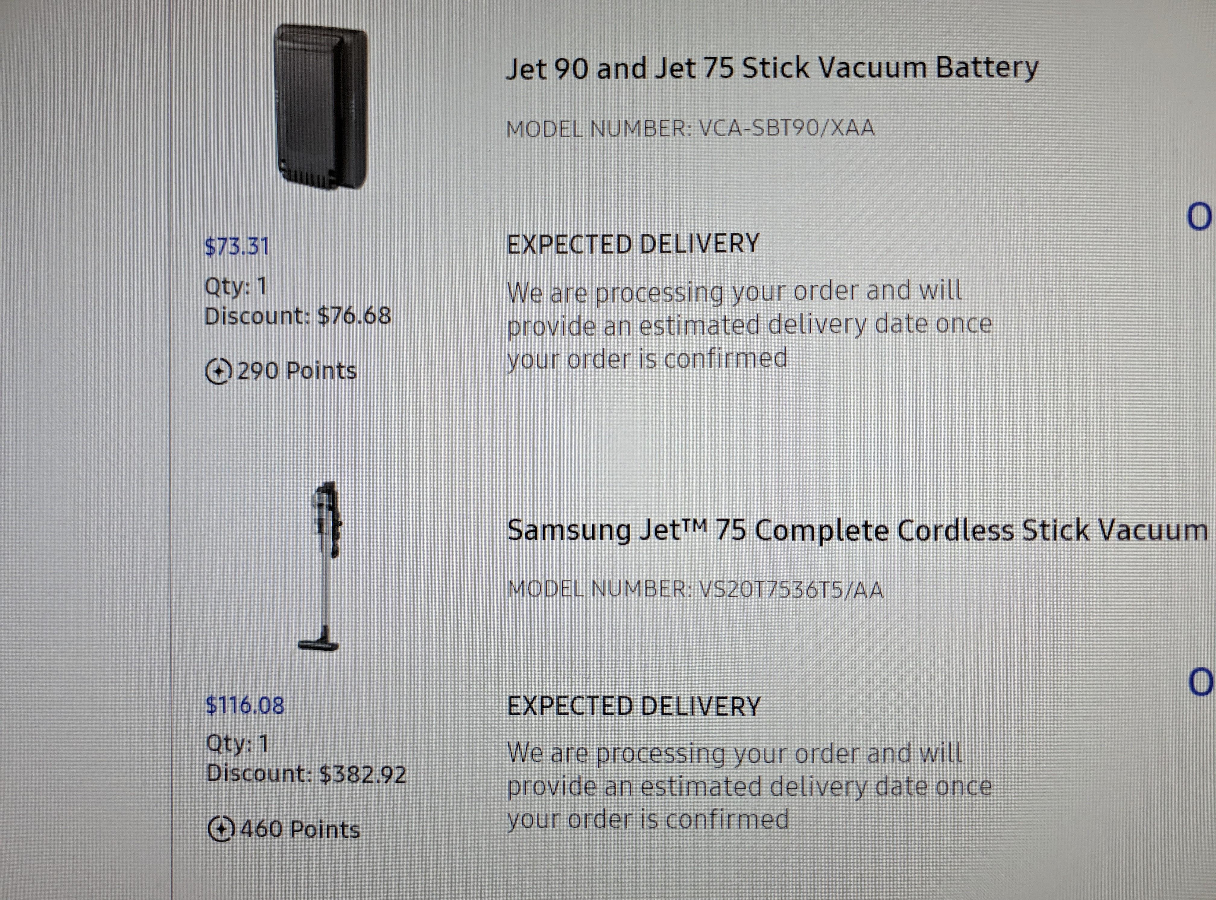 Samsung Jet 75 vacuum and spare battery $189.39  Edu account YMMV