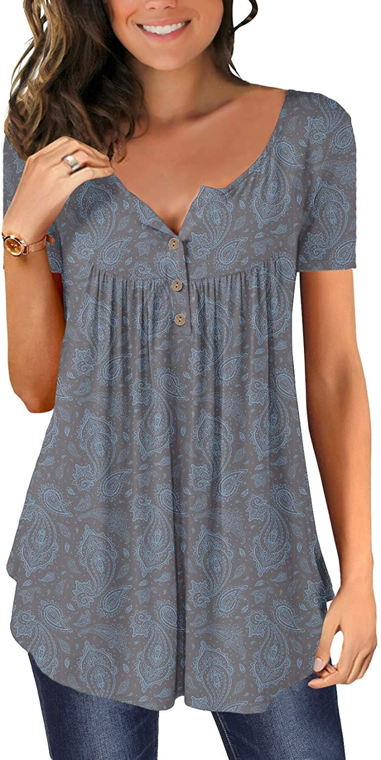 Womens Short Sleeve Tops Henley V Neck Tops Button Down T Shirts Casual Blouse