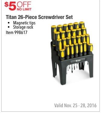 costco wholesale black friday titan 26 piece screwdriver set 5 off. Black Bedroom Furniture Sets. Home Design Ideas