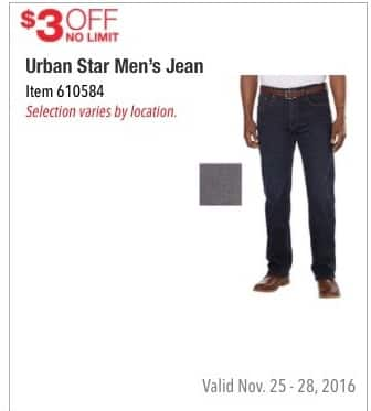 Costco Wholesale Black Friday: Urban Star Men's Jean - $3 Off