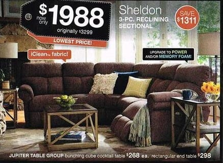 La Z Boy Black Friday Sheldon 3 Pc Reclining Sectional