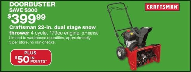 sears black friday craftsman 22 in dual stage snow thrower 50 in points for. Black Bedroom Furniture Sets. Home Design Ideas