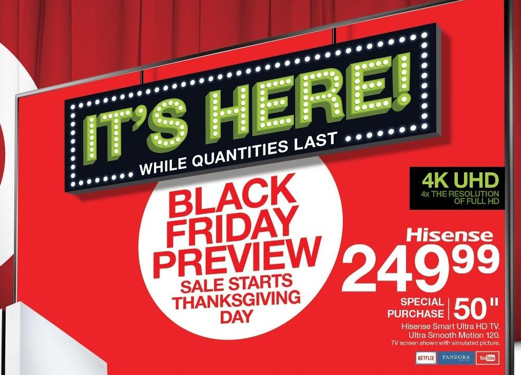 """Target Black Friday: 50"""" Hisense 4K Smart Ultra HDTV for $249.99"""