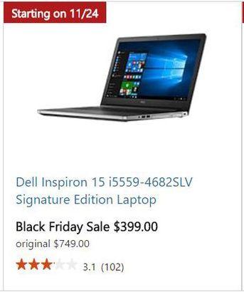 Microsoft Store Black Friday: Dell Inspiron 15 i5559-4682SLV Signature Edition Laptop for $399.00