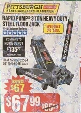 Harbor Freight Black Friday: Rapid Pump 3-Ton Heavy Duty Steel Floor Jack for $67.99