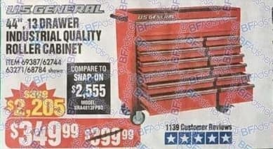 "Harbor Freight Black Friday: US General 44"" 13-Drawer Industrial Quality Roller Cabinet for $349.99"