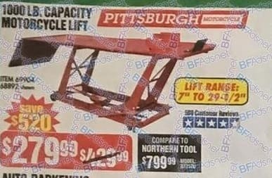 Harbor Freight Black Friday: Pittsburgh Motorcycle 1000 LB. Capacity Motocycle Lift for $279.99