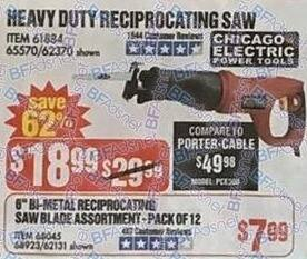 Harbor Freight Black Friday: Chicago Electric Heavy Duty Reciprocating Saw for $18.99