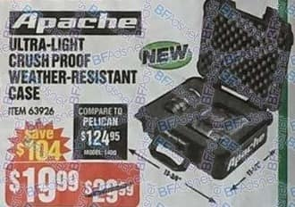 Harbor Freight Black Friday: Apache Ultra-Light Crush Proof Weather-Resistant Case for $19.99