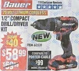 "Harbor Freight Black Friday: Bauer 20-Volt Lithium Cordless 1/2"" Compact Drill/Driver Kit for $58.99"