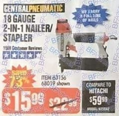 Harbor Freight Black Friday: Central Pneumatic 18 Gauge 2-in-1 Nailer/Stapler for $15.99