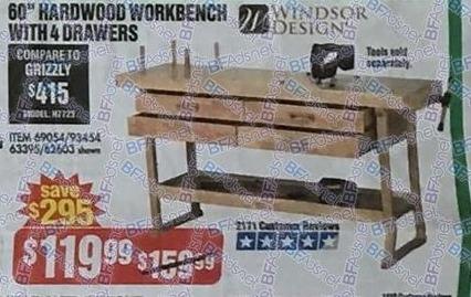 "Harbor Freight Black Friday: Windsor Design 60"" Hardwood Workbench w/ 4 Drawers for $119.99"