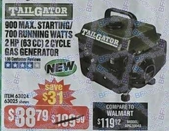 Harbor Freight Black Friday: Tailgator 900-max. Starting/700-running Watts 2 HP (63 CC) 2 Cycle Gas Generator for $88.79