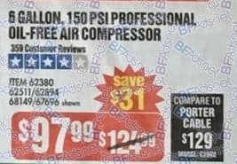 Harbor Freight Black Friday: 6-Gallon 150 PSI Professional Oil-free Air Compressor for $97.99