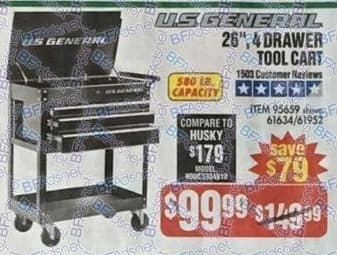 """Harbor Freight Black Friday: U.S. General 26"""" 4-Drawer Tool Cart for $99.99"""
