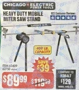 Harbor Freight Black Friday: Chicago Electric Heavy Duty Mobile Miter Saw Stand for $89.99