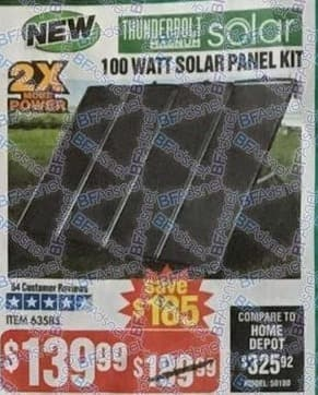 Harbor Freight Black Friday: 100-Watt Solar Panel Kit for $139.99