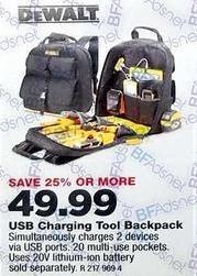 True Value Black Friday: Dewalt USB Charging Tool Backpack for $49.99
