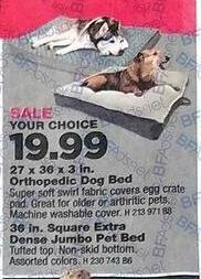 True Value Black Friday: 27 x 36 x 3 in. Orthopedic Dog bed or 36 in. Square Extra Dense Jumbo Pet Bed, Your Choice for $19.99