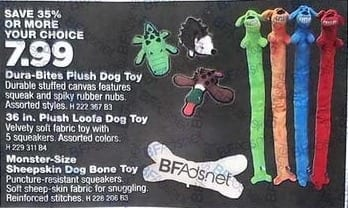 True Value Black Friday: Dura-Bites Plush Dog Toy, 36 in. Plush Loofa Dog Toy, or Monster-Size Sheepskin Dog Bone Toy, Your Choice for $7.99
