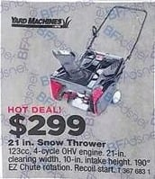 True Value Black Friday: Yard Machines 21 in. Snow Thrower for $299.00