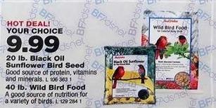 True Value Black Friday: 20 lb. Black Oil Sunflower Bird Seed or 40 lb. Wild Bird Food, Your Choice for $9.99