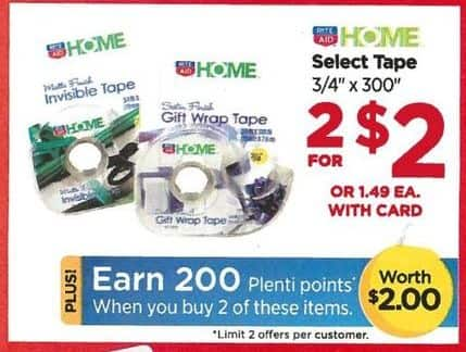 Rite Aid Black Friday: Select Tape (2) + 200 PP for $2.00