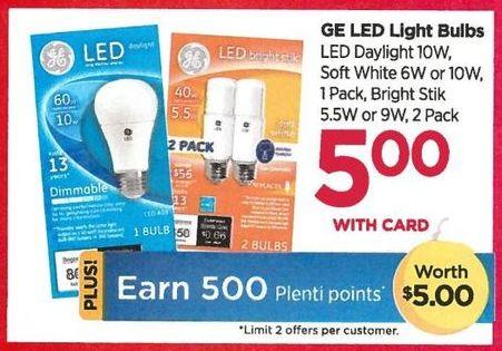 Rite Aid Black Friday: GE LED Light Bulbs Soft White + 500 PP - $5.00 w/card
