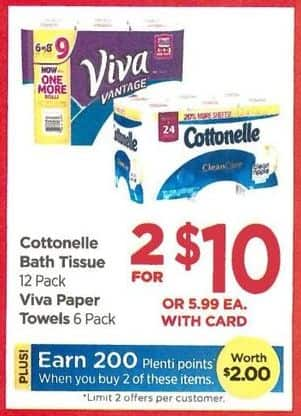 Rite Aid Black Friday: Cottonelle 12 Pk. Bath Tissue + 200 PP - 2 for $10 w/Card