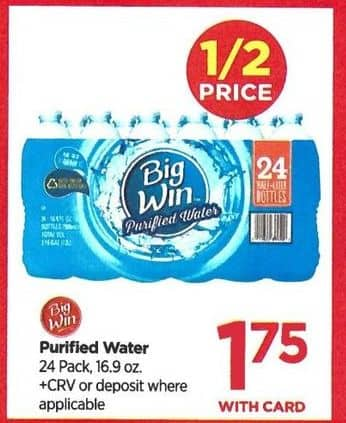 Rite Aid Black Friday: Big Win 24 pk. Purified Water - $1.75 w/Card
