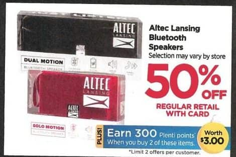 Rite Aid Black Friday: Altec Lansing Bluetooth + 300 PP - 50% off w/Card