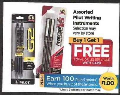 Rite Aid Black Friday: Pilot Assorted Writing Instruments - B1G1 Free w/Card