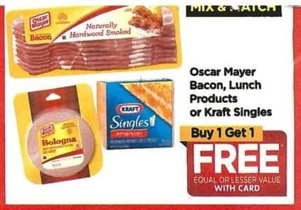 Rite Aid Black Friday: Mix & Match Oscar Mayor Bacon, Lunch Products or Kraft Singles, Your Choice - B1G1 Free