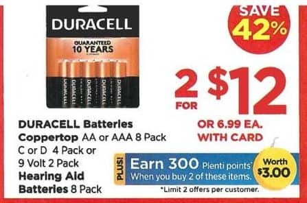 Rite Aid Black Friday: Duracell AA, AAA, C, D or Hearing Aid Batteries (2), Your Choice for $12.00