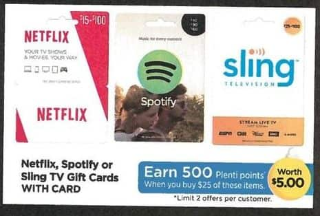 Rite Aid Black Friday: Netflix, Spotify or Sling Subscription - Earn 500 in Plenti Points w/Card