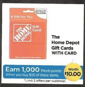 Rite Aid Black Friday: The Home Depot Gift Card - Earn 1,000 in Plenti Points w/Card