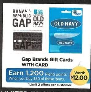 Rite Aid Black Friday: Gap Brand or Old Navy Gift Card, Select Cards - Earn 1,200 in Plenti Points w/Card
