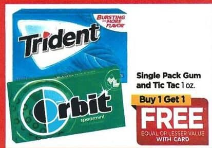 Rite Aid Black Friday: Single Pack Gum or Tic Tacs - B1G1 Free