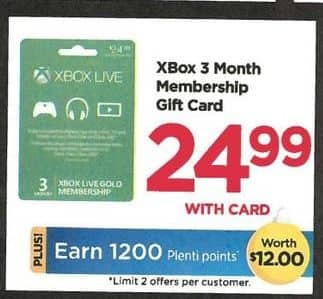 Rite Aid Black Friday: Xbox 3-mo. Subscription Gift Card + 1,200 PP - $24.99 w/Card